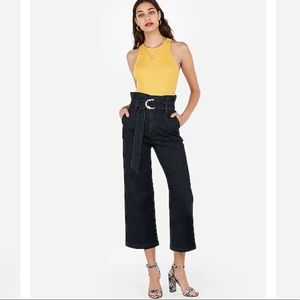 Express Super High Waisted Wide Leg Cropped Jeans
